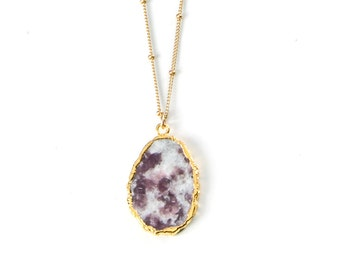 Lepidolite necklace on Gold filled Satellite chain