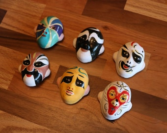 Chinese Opera Mask Magnet Set with 6 Painted Clay Masks