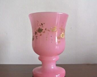 Vintage Hand Painted Planter - Pink Flower Pot - Vintage Glass Candle Holder