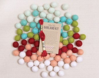 Felt Pom-Poms // Merry Modern // Christmas Wool Felt Balls, Holiday Garland, Red Felt Balls, Green Felt Beads, Pom Wreath, Holiday Decor