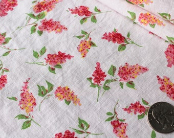 Antique 1940 FABRIC - Raspberry Pink and Yellow Butteryfly Bush Picks on Light Pink Background