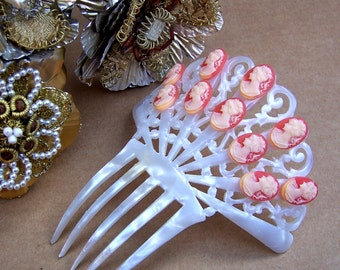 Art Deco hair comb mother of pearl effect pink cameos hair accessory hair jewellery headdress headpiece decorative comb (AAA)