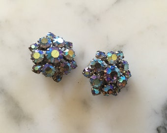 Blue Rhinestone Clip On Earrings . Silver Tone Ice Sparkle