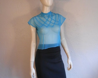 Touring La Cote d'Azur - Vintage Late 40s Early 50s Turquoise Sheer Nylon Lattice Blouse - 34