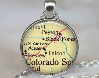 U.S. Air Force Academy map necklace, US Air Force Academy pendant, USAF Academy Air Force pendant USAF key chain key ring