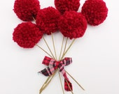 Pom Pom Flowers (chunky cranberry poms)