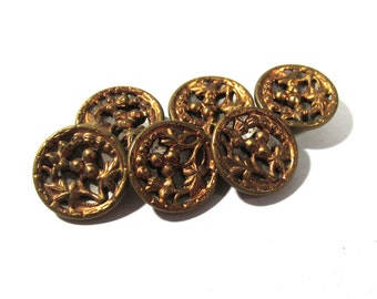 Victorian Mirror Back Buttons ANTIQUE Twinkle Buttons Victorian Six (6) Buttons Antique Wedding Jewelry Sewing Reenactment Supplies (D68)