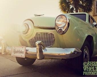 Mid-Century Studebaker - Metallic Fine Art Photograph - 1951 Studebaker Champion Classic Bullet-Nose Car - Green Retro Decor