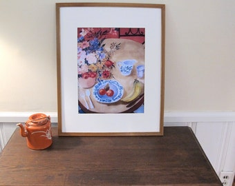 "Large Print of Silk Painting ""Table Set For One "" In a 16 x 20 In Mat , Ready to Be Framed , Tea, Still LIfe"