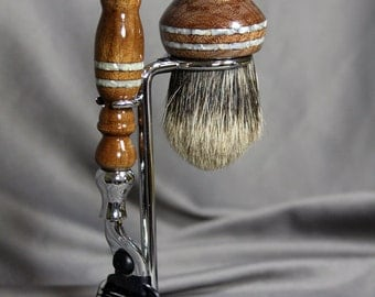 Shaving Kit American Walnut Shaving Kit with Mother of Pearl Inlay AAA Grade Badger Hair Brush Father's Day Gift Graduation ready2ship