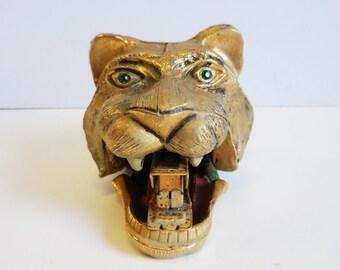 Vintage brass lion head stapler Emerald green eyes gold Office home work desk supplies
