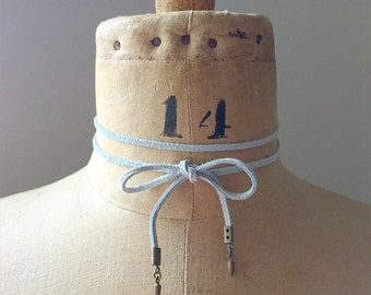 Baby Blue Suede Spike Tie Choker Lariat Wrap Necklace
