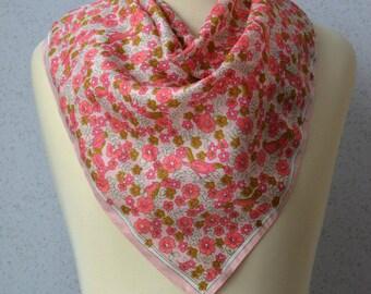 Vintage square scarf: Birds, Flowers, Pink, Olive Green, Pastel, Ditsy Floral