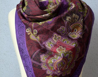 Vintage Silk Square Scarf: Paisley, Arabesque, Purple, Olive Green, Gold, Maroon, Romantic