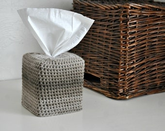 Modern Square Tissue Box Cover Nursery Decoration Taupe Ombre Home Decor Kleenex Box Cover