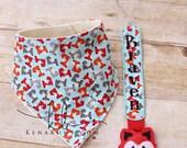 Fox Baby Bandana Bib, Personalized Pacifier Clip, Baby Shower Gift, Birthday Baby Boy, Red Fox, Blue Urban Fox Fabric