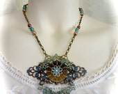 Boho Chic Neo Victorian Pendant Necklace Verdigris Filagree and Pearls and Copper