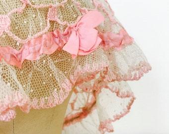 Vintage pastel pink lace bonnet/Ribbonwork/Crochet lace/Doily