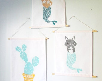 ANY of my multi colored block prints a Fabric Wall Hanging. Choose ANY print in ANY colors. Read product details.