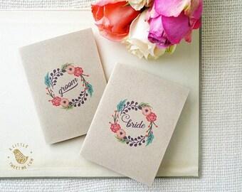 Rustic vow books. wedding vow book. Wedding ceremony. Set of 2 books. VB456
