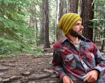 Crochet Beanie Hat Slouchy Knit Wool Blend Beanie Beehive Rasta Accordion Beanie Small or Large More Color Options