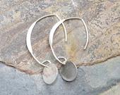 Sterling Silver Earrings, Silver Disc Earrings, Modern Earrings, Classic Earrings, Curved Wire Earrings, Handmade Earrings