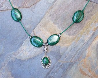 Malachite Necklace, Green Necklace, Natural Stone Necklace, Gemstone Necklace, Sterling Silver Necklace, Beaded Necklace