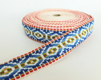 Woven Boho Bohemian Sewing Trim in Red, Blue, Yellow, Green and White One Yard