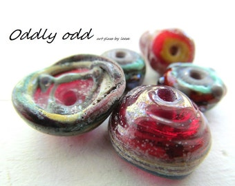 Organic HANDMADE LAMPWORK assortment SRA Artisan Designer Beads Glass By Leese