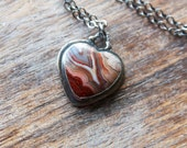 Crazy Lace Agate Necklace, Heart Necklace, Sterling Silver, Statement Necklace... L'Amour...