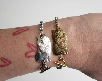 longhair cat bracelet . choose your color - silver or gold . will make to your desired length