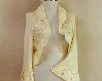 Ivory Bolero Bridal Shrug, Sweater Shrug, Wedding Bolero, Knit Shrug, Bolero Jacket, Crochet Cardigan 3/4 Sleeve Ruffle Shrug, Cover Up SALE