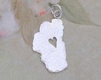 """Tahoe Pendant, Hammered 7/8"""", Lake Tahoe Charm, Tahoe Necklace, Tahoe Jewelry, Made in Tahoe, Lake Tahoe, Tahoe Heart Pendant, Tahoe"""