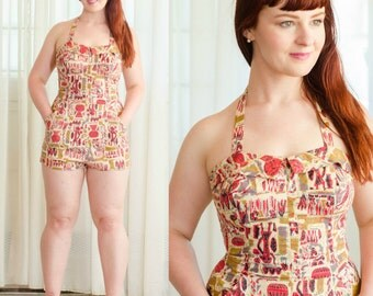 1950s Novelty Print Swimsuit - Vintage 50s Playsuit - Valley of the Kings Swimsuit & Matching Cover Up
