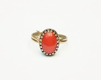 Red Gemstone Ring Red Jasper Ring Antiqued Gold Ring Brick Red Stone Ring Jasper Gemstone Ring Jasper Stone Ring