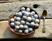 SEA MARBLE SOUP - 50 Clay Sea Marbles - Sea Worn Metal Bowl - Sea Worn Spoon - Scottish Beach Finds