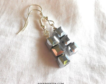 Cube Earrings Crystal  Earrings Bright Silver Earrings Silver Plated Surgical Steel French Hooks SUPER SALE USA