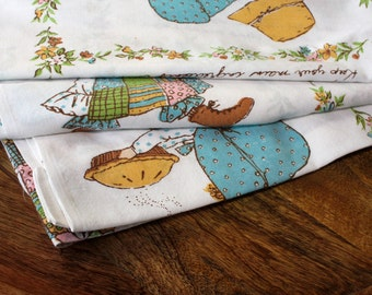 Vintage 1950s 60s Country Girl Bed Sheet