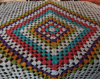 Vintage 1960's Crochet Blanket // 60's 70's Knit Patchwork Blanket // Rainbow Square Patchwork Knit Bedspread