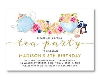 Tea Party Invitation, Girl Birthday Invitation, 3rd, 4th, 5th, 6th, 7th  Birthday Invitation,Printable, Digital, Faux glitter 1563 1566