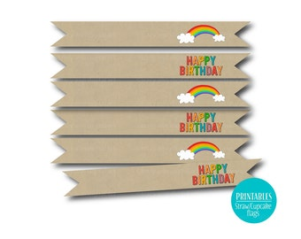 Rainbow Party Flags Straw Cupcake Flags, Happy Birthday Flags - Instant download,  1081