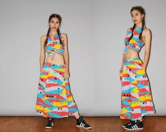 Vintage 1980s Two Piece Rainbow Tribal New Wave Maxi Skirt and Crop Top - Vintage 80s Rainbow  - 80s Graphic Print - WB0443