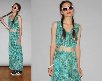 Vintage 1990s Graphic Tribal Hippie Boho Festival Dress - Vintage 90s Graphic Dress - Vintage Dresses  - WD0888