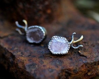 SALE - Mica Stud Earrings - Lavender Lepidolite Mica, Recycled Silver & 14k Gold - Mixed Metal, Stud, Post, OOAK, Sea, Talisman, Rough Stone
