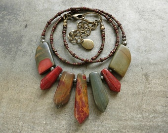 Picasso Jasper Tribal Necklace, rustic Bohemian style stone fan statement necklace with graduated stone focal & warm colors