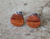 "Wooden Stud Earrings,  Pao Rosa Wood Earring, Surgical Steel, Sterling Silver Posts - 3/8""(10mm) - 203"