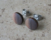 "Wood Stud, Two Tone Walnut Wood Earring, Wood Stud Earring, Surgical steel Post, 3/8""(10mm) - 319"