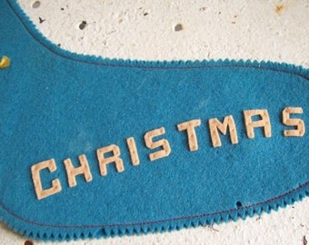 Vintage Christmas stocking hand made blue felt Angel ringing bell MERRY CHRISTMAS  free shipping to USA
