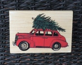 """WOODEN RUBBER STAMP - """"Tie Down The Tree""""  - By: Stampabilities"""