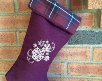 Christmas stocking linen maroon machine embroidered snowflake swirl plaid foldover cuff holiday decoration housewarming hostess couples gift